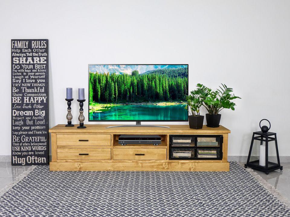 drewniana szafka rtv naturalna