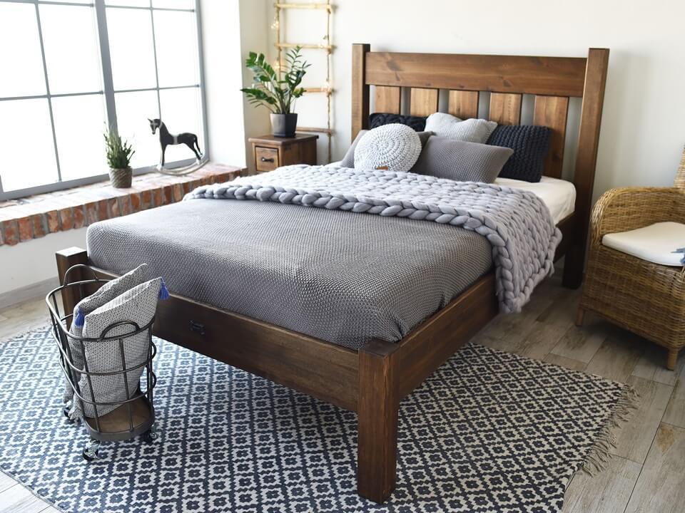 łóżko Drewniane Sosnowe Rustyk Mieszko Ii 160