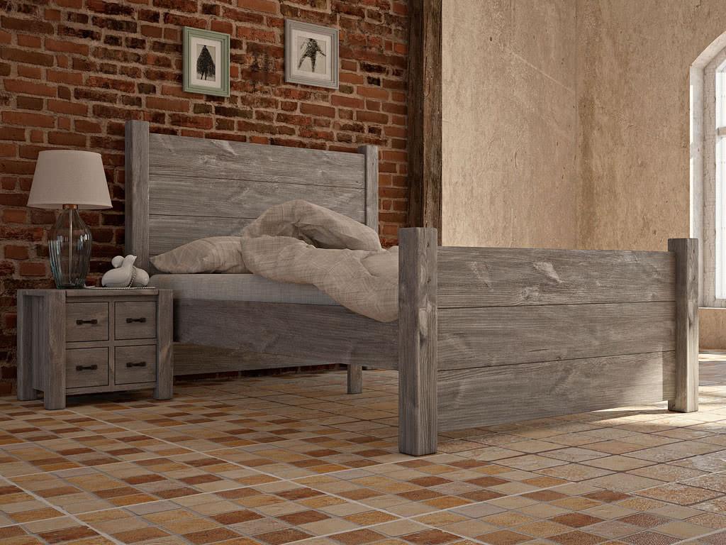 Rustykalne łóżko drewniane COUNTRY 26 140cm - WYPRZEDAŻ