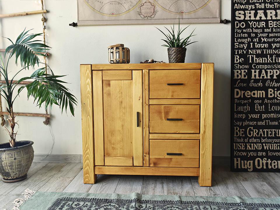 komoda drewniana z szufladami, drzwiczkami