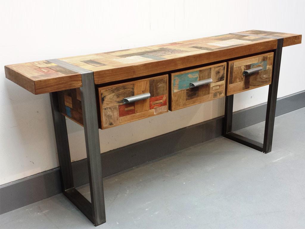 Teakowa konsola z drewna z recyklingu Old Teak Feeria