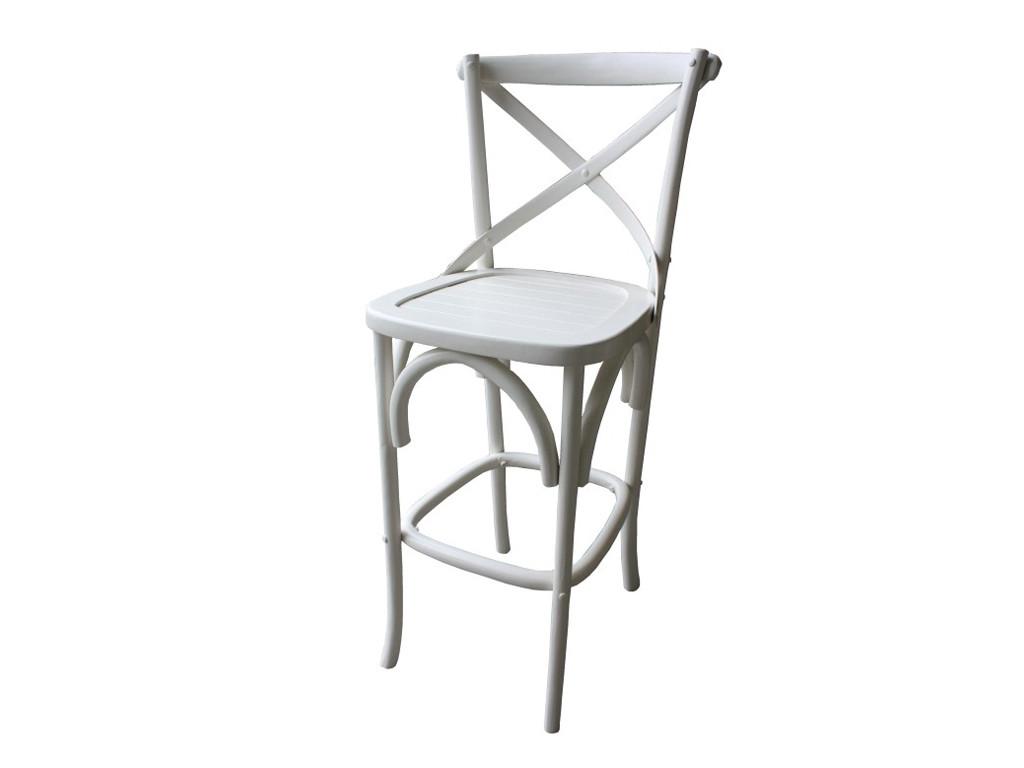 Białe krzesło barowe drewniane White Mango 2