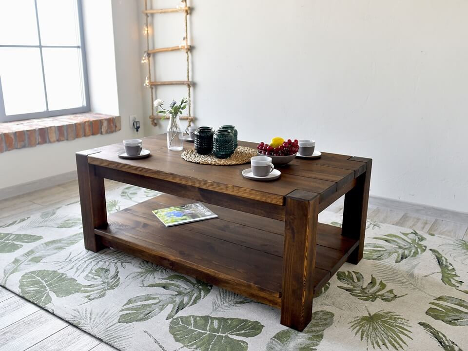 ława do salony drewniana