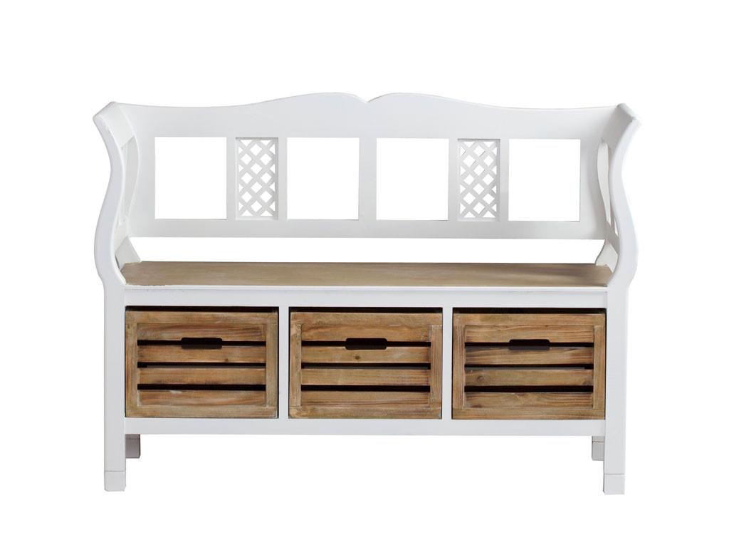 Biała ławka drewniana Louise Brown 2