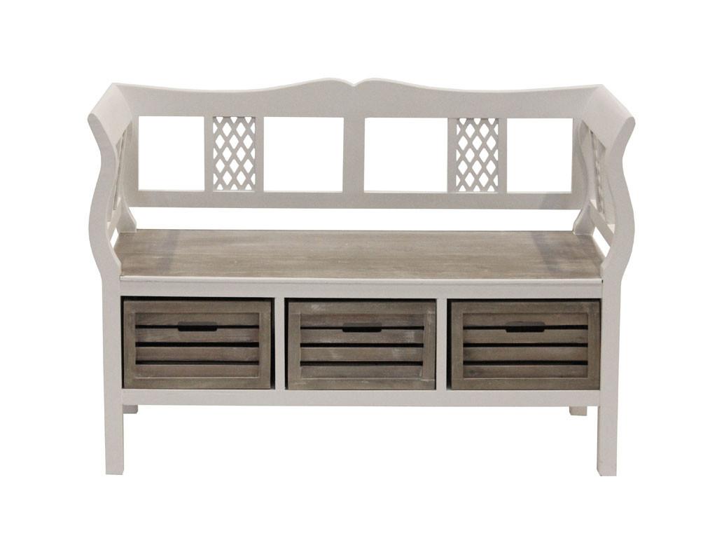 Biała ławka drewniana Louise Gray 2