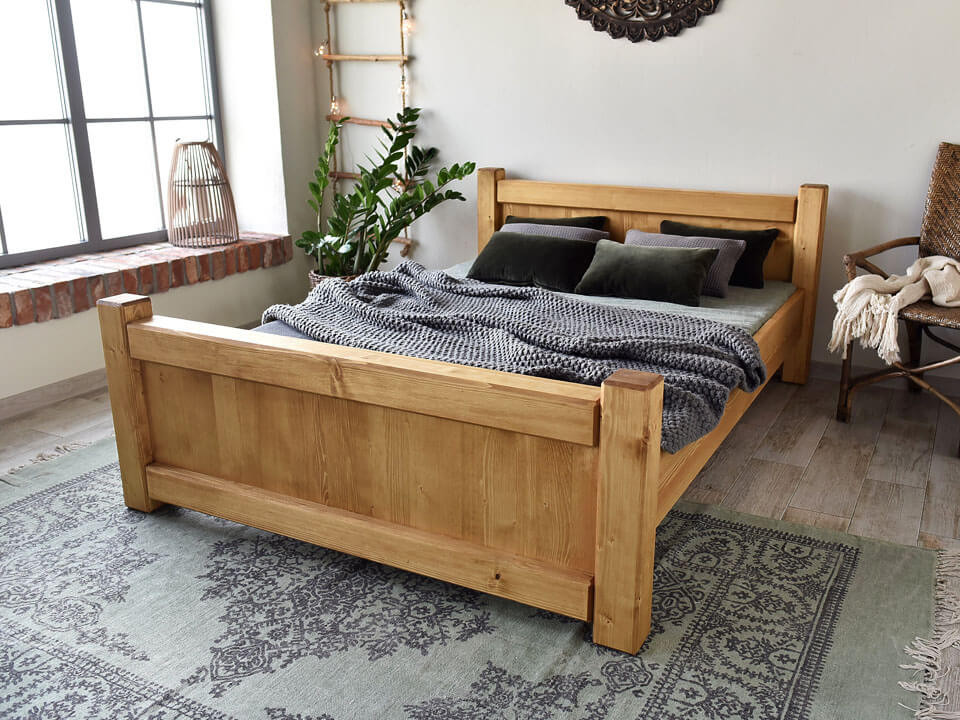Łóżko drewniane Vintage 160x200