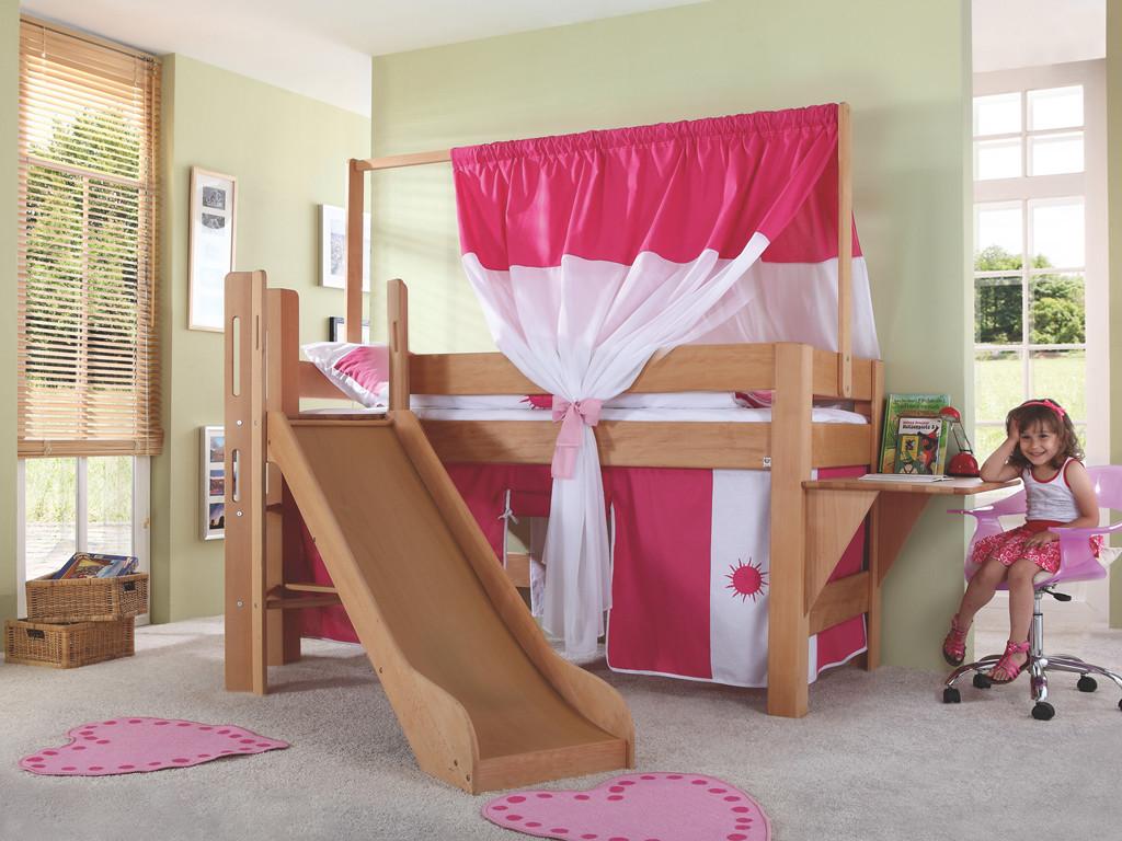 Łóżko bukowe antresola z baldachimem Wendy 33 90x200