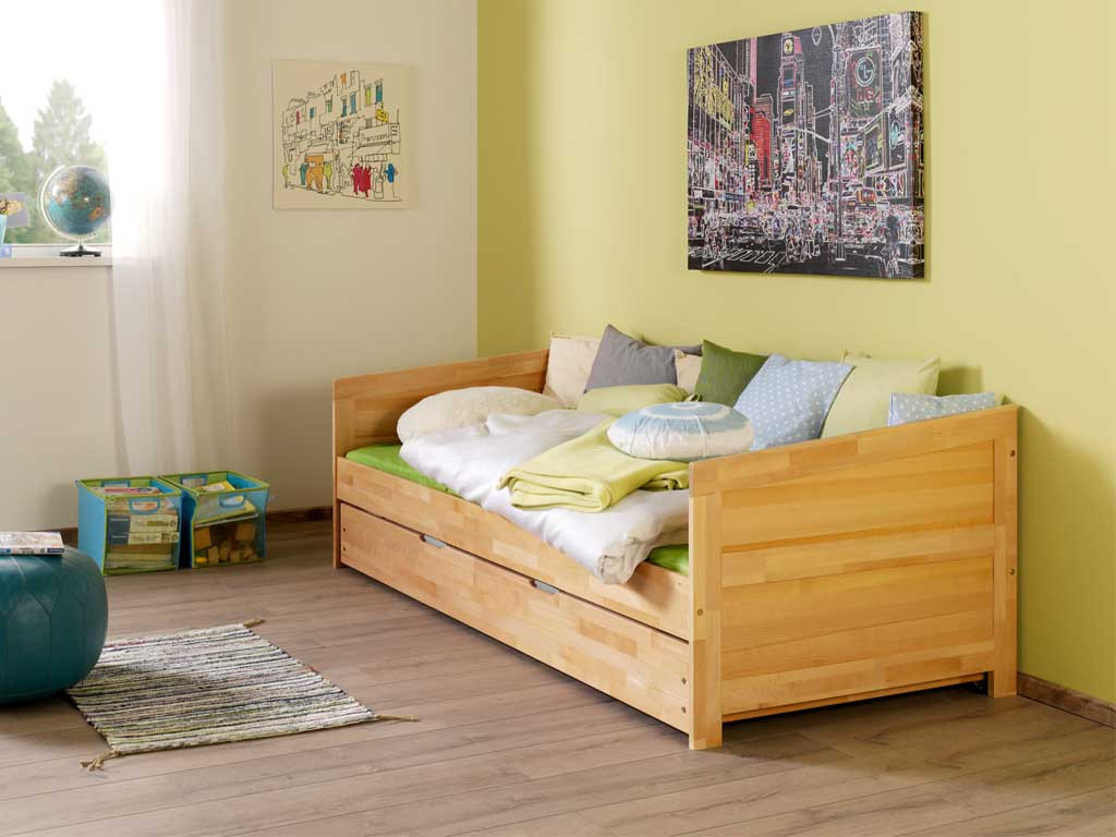 Łóżko bukowe parterowe Wendy 90x200 - lakier naturalny - WYPRZEDAŻ