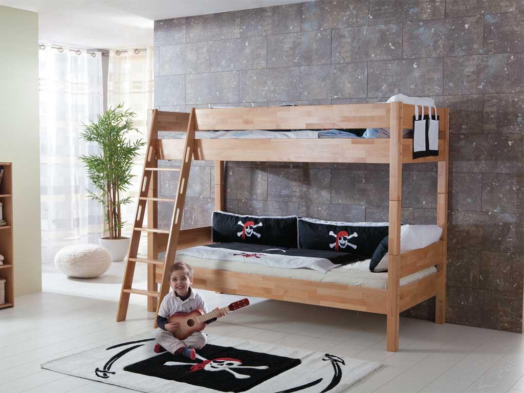 Łóżko bukowe piętrowe Wendy 03 90x200cm