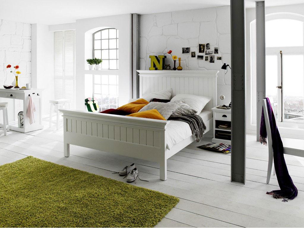 Białe łóżko z drewna mahoniowego Halifax 160