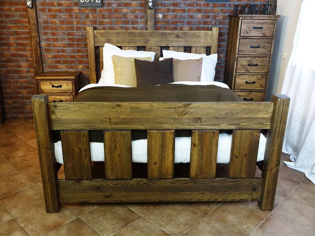 Łóżko drewniane Rustyk / Mieszko 180 - WYPRZEDAŻ