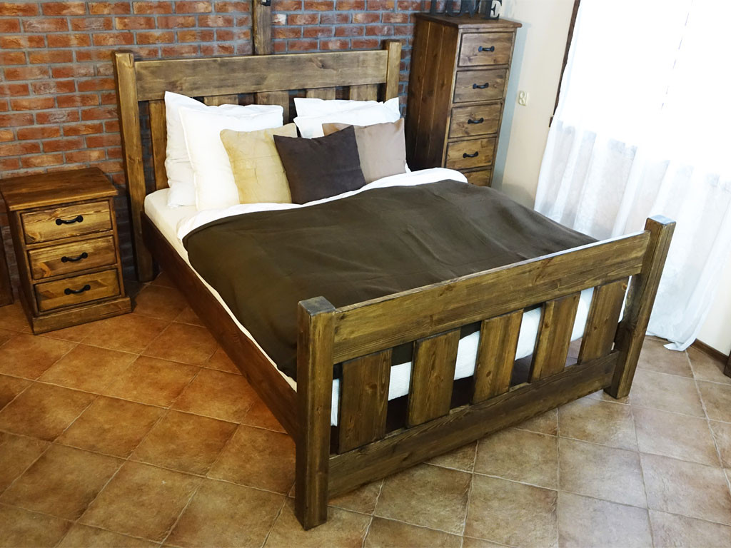 Łóżko Rustyk / Mieszko 160, dąb przydymiony-OSTATNIE SZTUKI