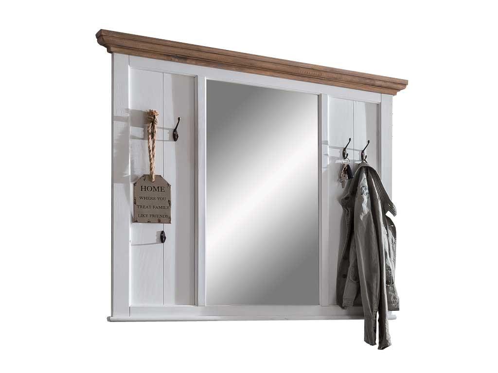 Biały panel wieszakowy z lustrem Raisa 1