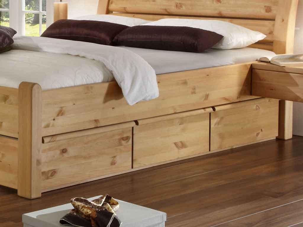 Potrójna szuflada do łóżka Sosnowa Majestic