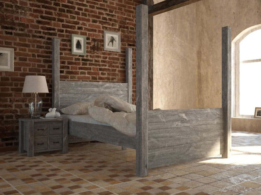 Rustykalne łóżko z drewna sosnowego Country 30 160 cm