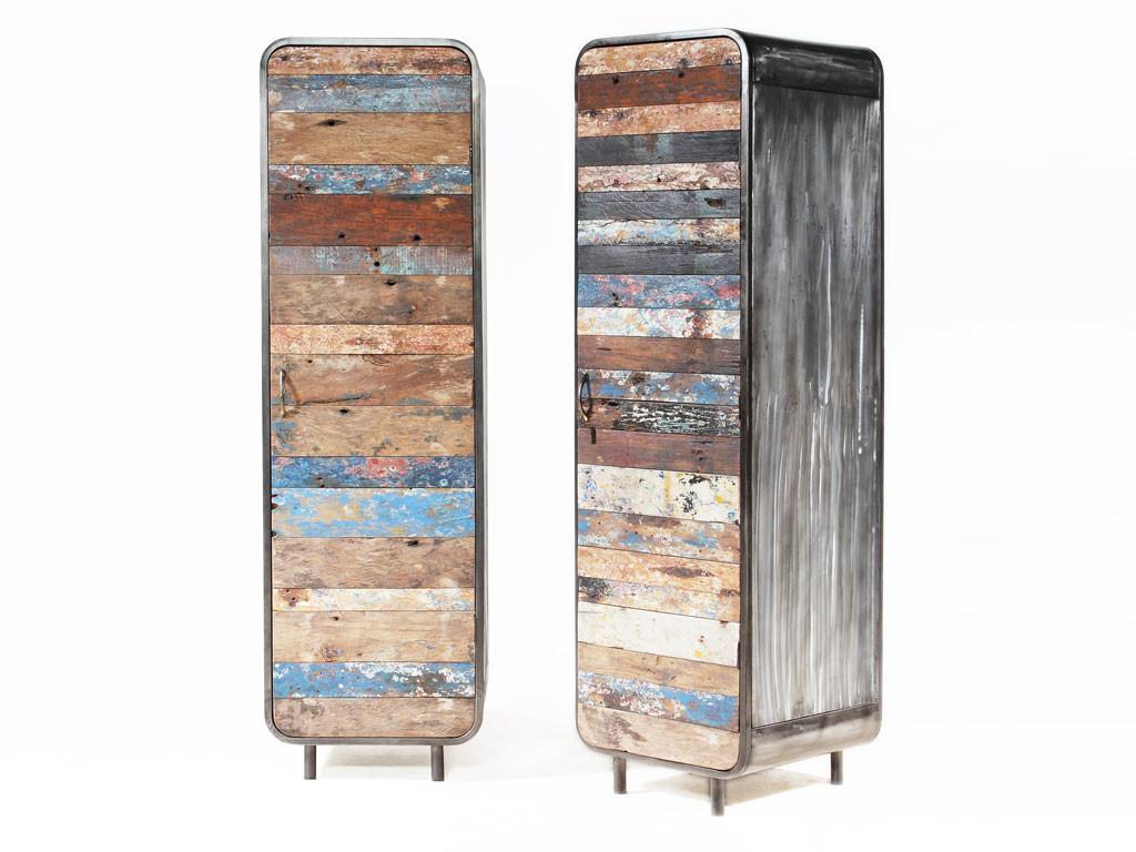 Wąska szafa teakowa z drewna z recyklingu Old Teak