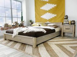 łóżko drewniane styl boho