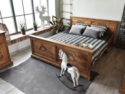 Łóżko drewniane rzeźbione Jagna 140x200
