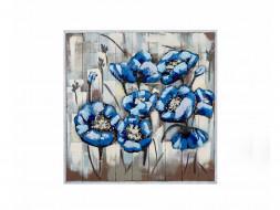 obraz metalowy 3d loftowy kwiaty
