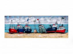 obraz metalowy 3d loftowy łodzie