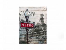 obraz metalowy 3d loftowy metro