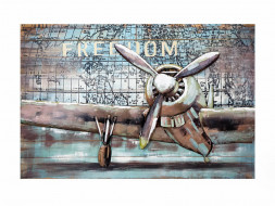 obraz metalowy 3d loftowy samolot