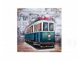 obraz metalowy 3d tramwaj