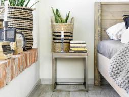 szafka nocna drewniany blat metalowe nogi