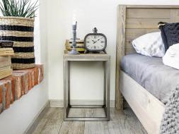 szafka nocna drewniany blat metalowy stelaż