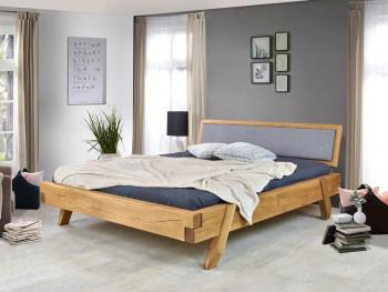 drewniane łóżko dębowe z wezgłowiem