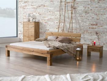 Dębowe stylowe łóżko