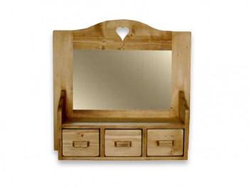 Szafka wisząca z lustrem z drewna świerkowego Mexicana 2