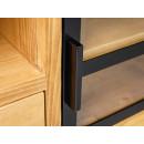 drewniana rtv z metalowymi elementami