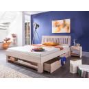 białe łóżko bukowe