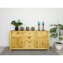 masywna komoda drewniana z półkami i szufladami