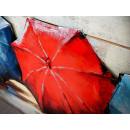 obraz metalowy 3d loftowy parasolki
