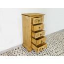 wąska komoda drewniana z szufladami i rzeźbionymi frontami