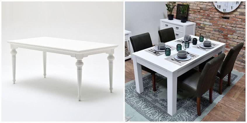 Biały stół drewniany