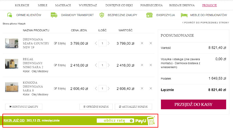 Raty PayU kalkulator
