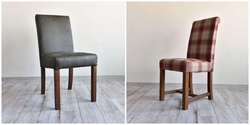 Drewniane krzesła tapicerowane
