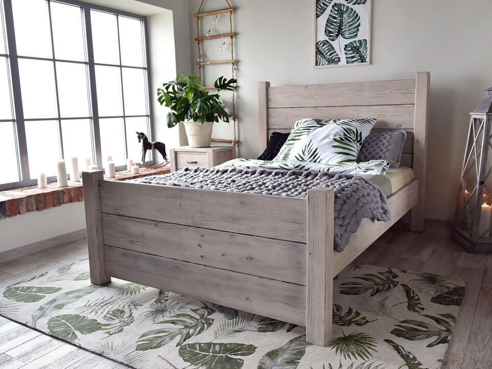 łóżko w stylu farmhouse