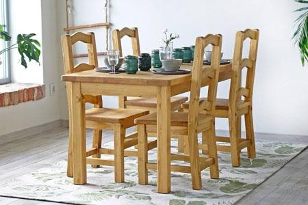 Meble do jadalni, stoły, krzesła, witryny, kredensy.