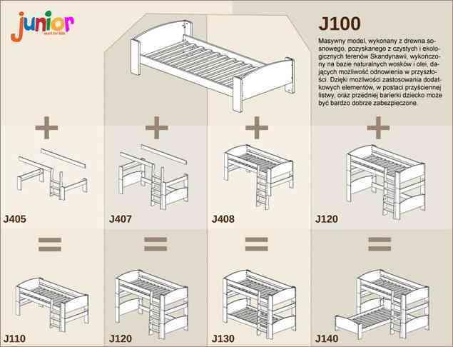Modułowe łóżka sosnowe dla dzieci