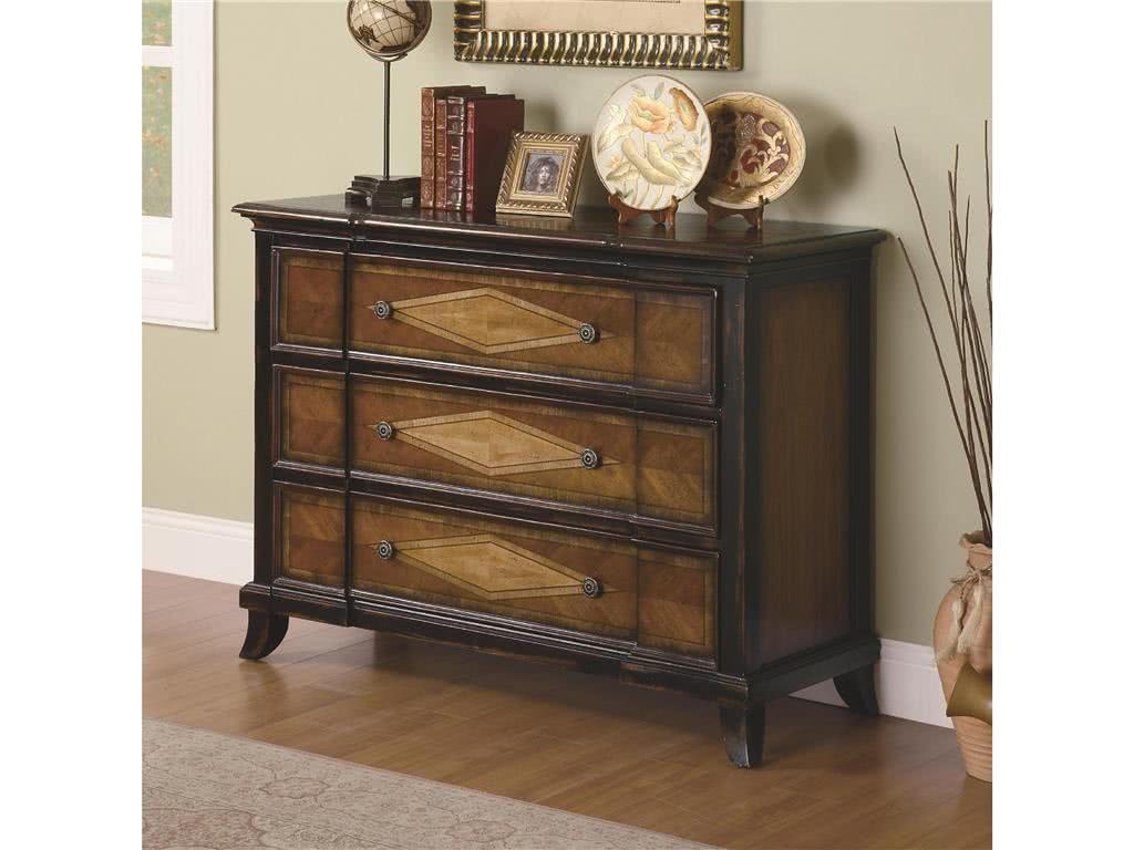 Ciemne, drewniane meble i komody do salonu