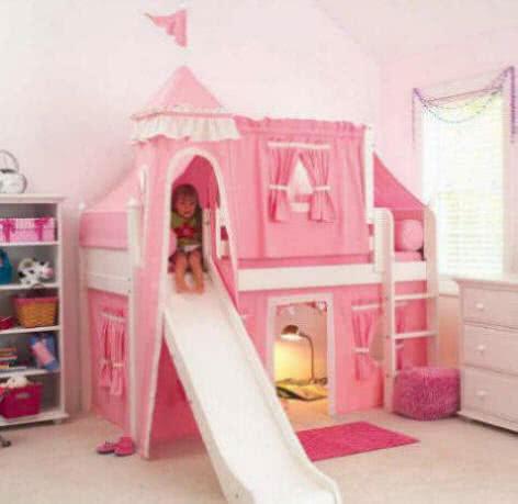 Białe łóżka pietrowe dla dziewczynki