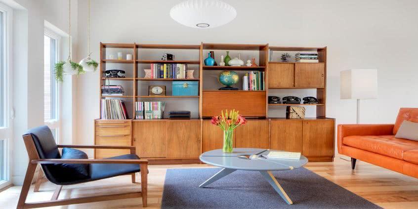 Nowoczesny salon biblioteka i rega na ksi ki seart for G plan interior design review